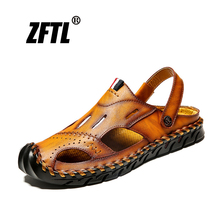 ZFTL New Men Sandals waterproof Man beach casual Sandals summer genuine leather male leisure slippers large size non-slip   066 hot 2018 big size men s sandals summer british fashion man genuine leather beach shoes men massage non slip large slippers flats