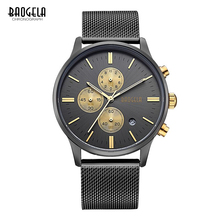 BAOGELA Chronograph Men's quartz-watch Stainless Steel Mesh Band Gold Watches Slim Men Watches Multi-function Sports Wristwatch