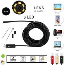 2016 El Más Nuevo de 8mm 6 PC LED Endoscopio Android 2.0MP HD 720 P Cable USB Animascopio de la Inspección de Tubos Cameraon Video Cam 6 LED Ajustable