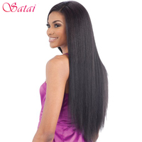 SATAI Hair Peruvian Straight Hair Extension Human Hair Bundles Double Weft Non Remy Hair Weave 8