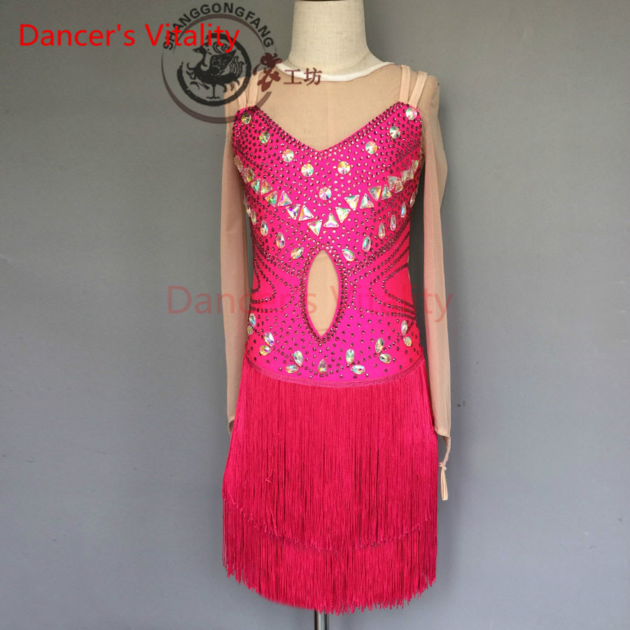 Dancers Vitality 2017 Harness Tassel Back Opening Latin Dance Dress Women Samba Salsa Tango Dress For Latin Competition Dress
