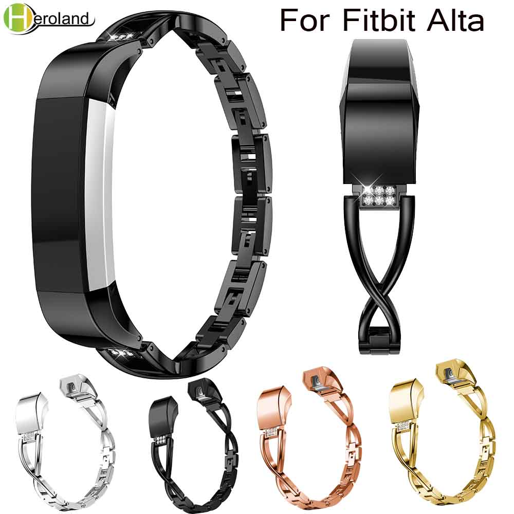 Alloy Steel Rhinestone Bling High Quality Replacement Wristband Band Strap Bracelet For Fitbit Alta/For Fitbit Alta HR WatchBand