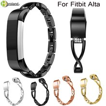 Alloy steel Rhinestone bling High Quality Replacement Wristband Band Strap Bracelet For Fitbit Alta/For Alta HR WatchBand