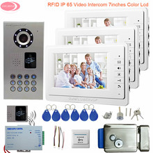 """7"""" Intercom In The Apartment Video Intercom For a Private House IP65 Waterproof Rfid Whit Electronic Lock Home Security Camera"""