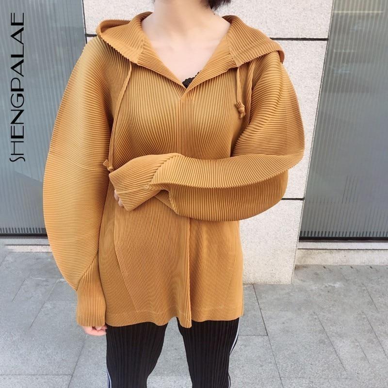 SHENGPALAE 2019 couleur unie à capuche pli Blouses à manches longues en vrac grande taille nouveau été printemps mode femmes plesté chemise FN052