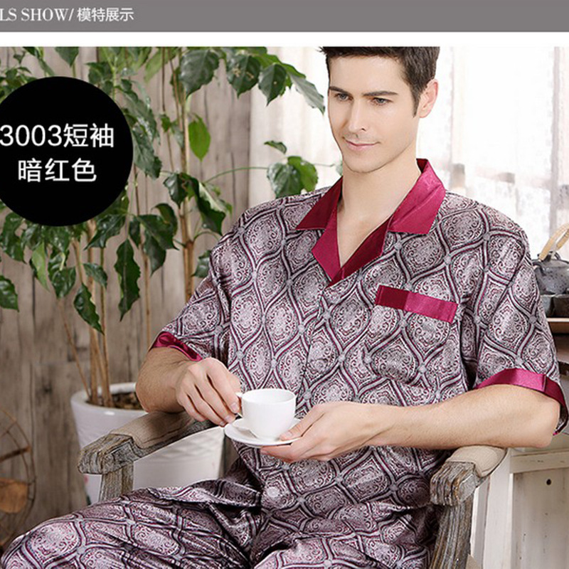 Autumn summer men 39 s silk pajamas thin short sleeves sleepwear luxury pajama set Loungewear L XL XXL XXXL in Men 39 s Pajama Sets from Underwear amp Sleepwears