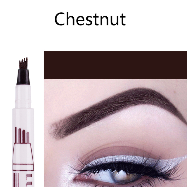 Hot Selling 3 Colors Liquid Tattoo Eyebrow Pencil with Four Tips Long-Lasting Waterproof Microblading Tattoo Eyes Pen Makeup 3
