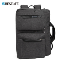 BESTLIFE Concise Style Canvas Laptop Backpack Multi Functional Business Briefcase Handbag Cross Body Bags For Man