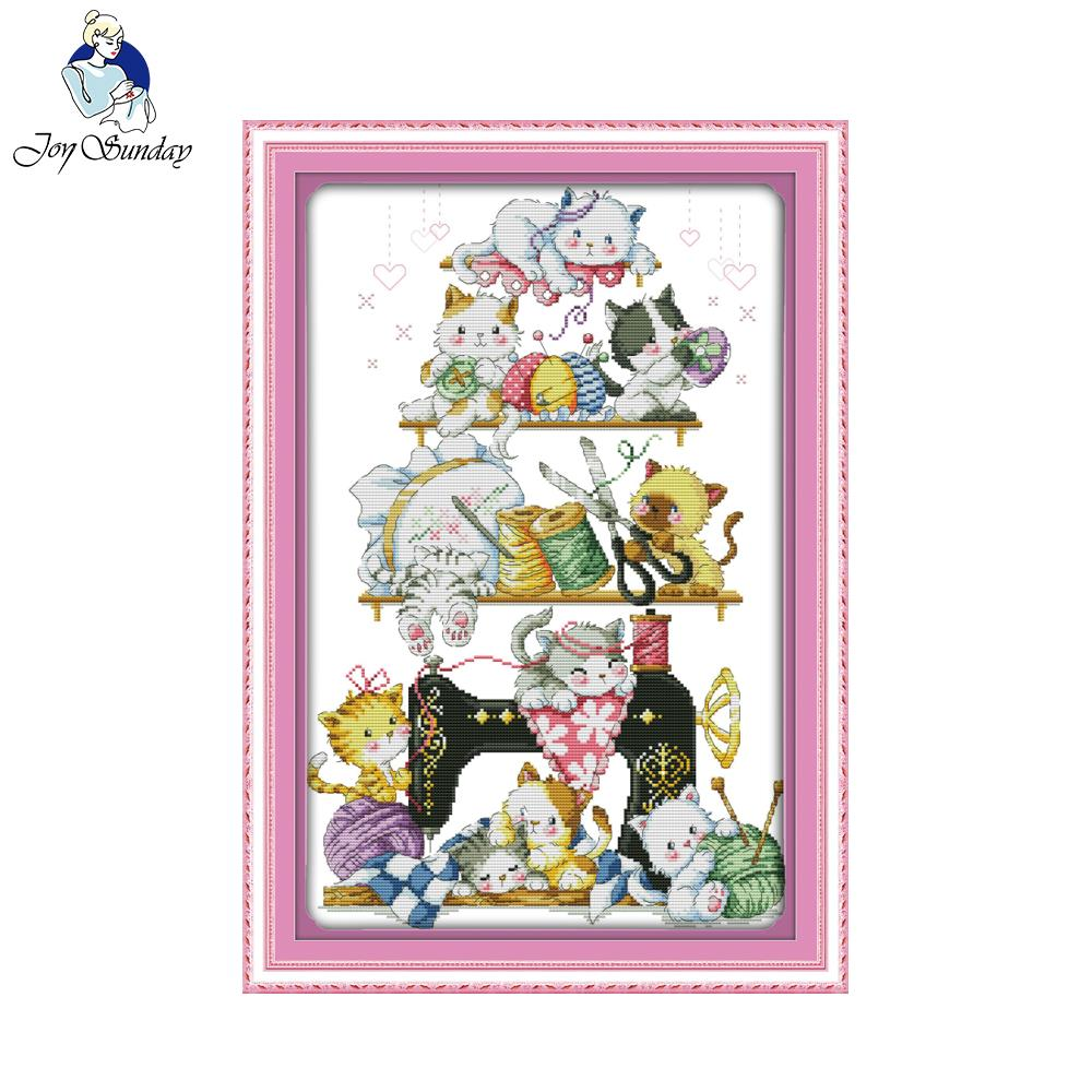 Joy Sunday Craft stitch painting The kitten beside the sewing machine Chinese Cross Stitch Kits For Embroidery Needlepoint Set
