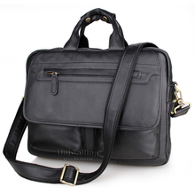 Laptop bag 15.6 inch leather handbag men quality genuine leather business bag double-zipper space cow leather shoulder bag