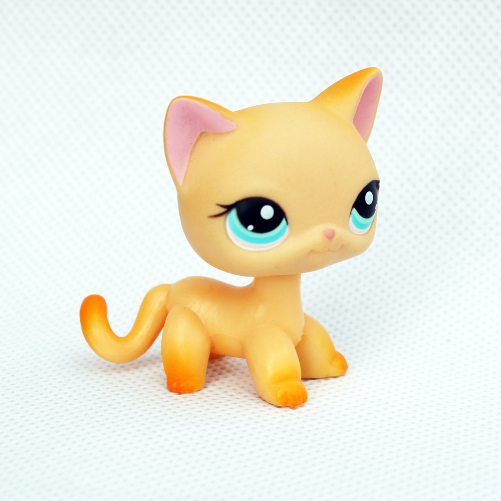 Rea Original Pet Shop Toys #339 Yellow Animal Kitty With Pink Ear Blue Eyes Old Original Short Hair Cat Child Gifts