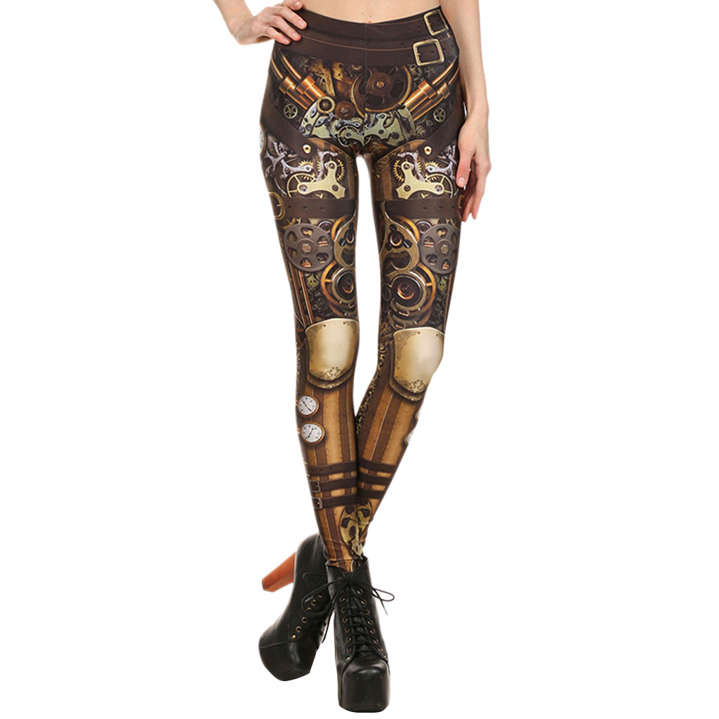 Leggings Fitness Feminina Women Steampunk Retro Leggings Comic Cosplay Print Gothic Strerchy Skinny Pants  ласины для женщин
