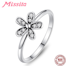 MISSITA 925 Sterling Silver Clear CZ Daisy Flower Finger Rings for Women Jewelry Brand Crystal Ring Wedding Gift