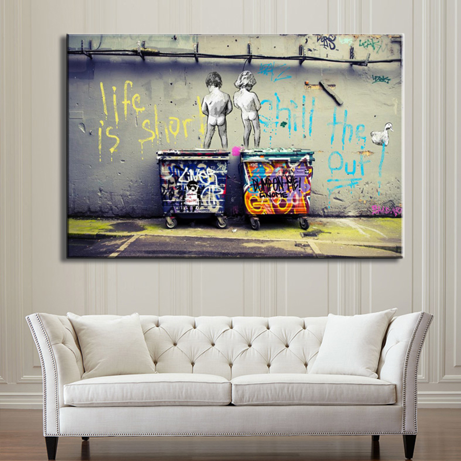 """HTB1hZ3YadfvK1RjSszhq6AcGFXa7 Banksy Graffiti Art Abstract Canvas Painting Posters and Prints """"Life Is Short Chill The Duck Out"""" Wall Canvas Art Home Decor"""