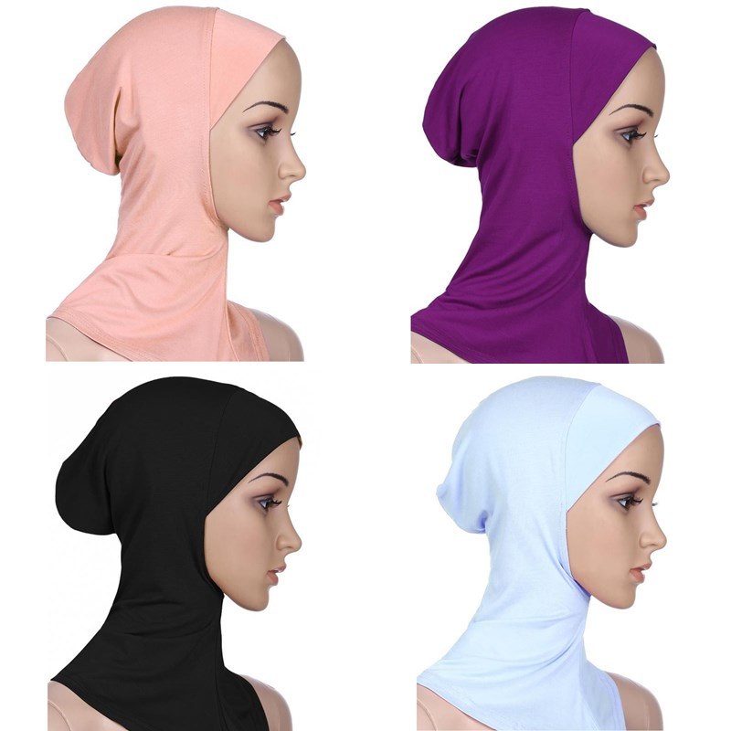New Muslim Women Side Flower Islamic Hijab Scarf One Piece Many Color Stretcable