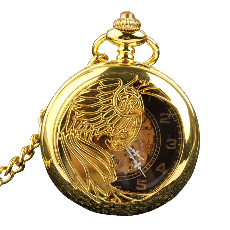 Retro Luxury Gold Silver Semi-hollow Phoenix Wing Carving Case Skeleton Hand Wind Mechanical Pocket Fob Watches Men Gift Bag