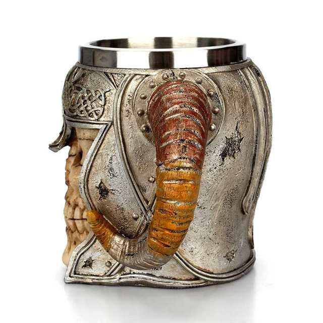 Viking Ram Horned Pit Lord Warrior Stainless Steel Skull Mug Beer Goat Horn Resin Tankard Coffee Mugs Halloween Bar Gift Tea Cup 4