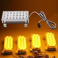 CARCHET 88 LED 노란색 스트로브 비상 점멸 경고등 자동차 트럭 22*4 LED 경고 점멸 스트로브 조명 블루 레드