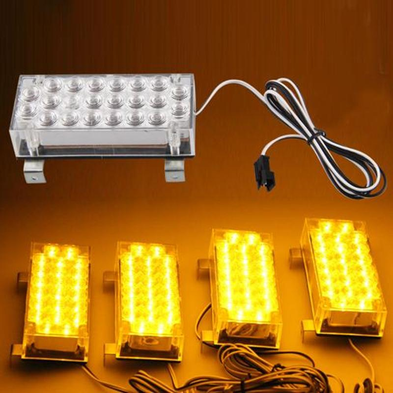CARCHET 88 LED Yellow Strobe Emergency Flashing Warning Light for Car Truck Lights 22*4 LED Warning Flash Flashing Strobe Lights