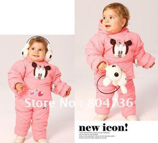 Children / Baby winter suit +pant minnie mouse clothing boy fur clothing suit winter clothing set kids suit 2-4years