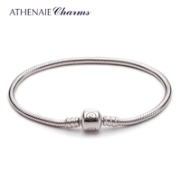 ATHENAIE 925 пробы Серебряный Змея браслет цепочка Подходит для европейских Шарм Бусины