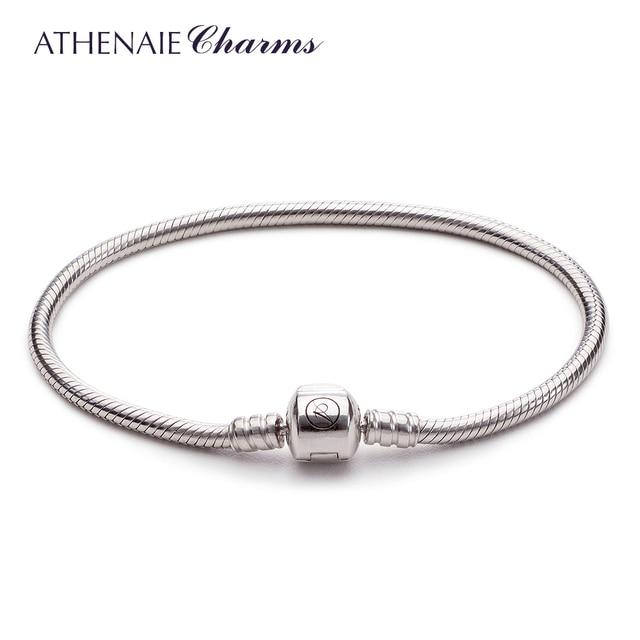 ATHENAIE 925 סטרלינג כסף נחש שרשרת צמיד Fit אירופאי קסם צמיד לנשים DIY תכשיטי ביצוע מתנות