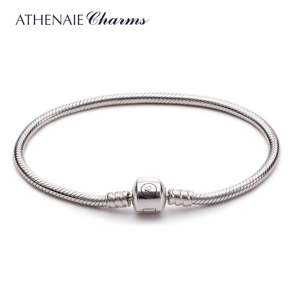 ATHENAIE 925 Sterling Silver Serpente Pulseira Cadeia Ajuste para Contas de Charme Europeu