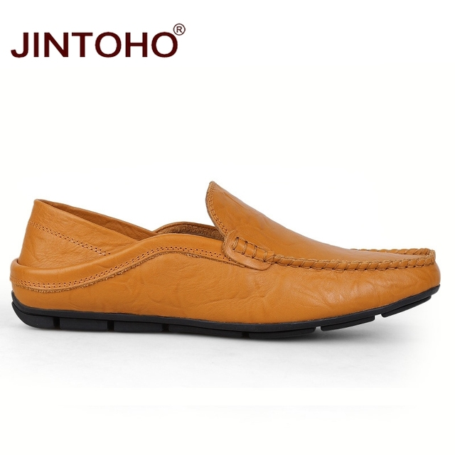 JINTOHO big size 35-47 slip on casual men loafers spring and autumn mens moccasins shoes genuine leather men's flats shoes 2