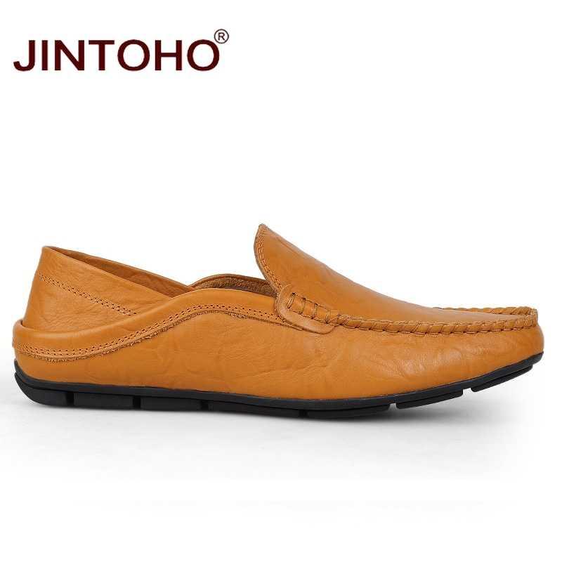 JINTOHO big size 35-47 slip op casual mannen loafers en najaar heren mocassins echt leer mannen's flats schoenen