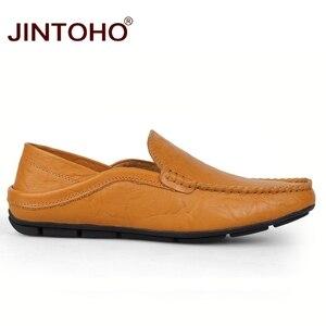 Image 2 - Jintoho Size Lớn 35 47 Slip On Nam Cho Nữ Xuân Thu Nam Mộc Mạch Trà Giày Nam Da Thật Chính Hãng của Đế Giày