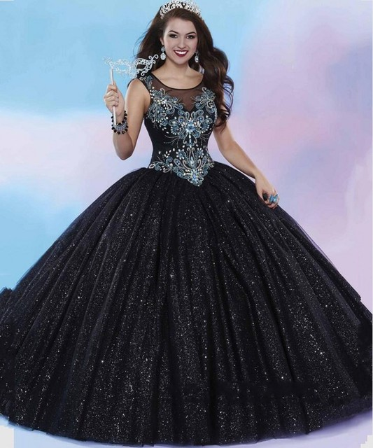 Black Ice Blue Quinceanera Dresses 2016 New Design Softly Shimmering