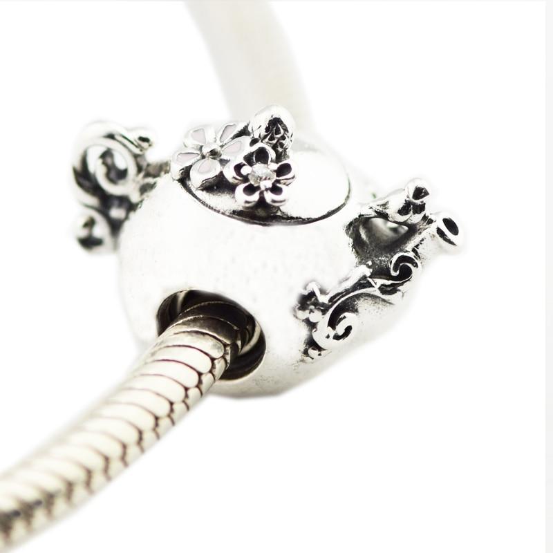 100% Authentische 925 Sterling Silber Enchanted Tee Topf Perlen Für Schmuck Herstellung Passend Frauen Charms Silber 925 Original Armband Hell In Farbe