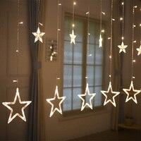 4 메터 138Led 스타 LED 문자열 요정 라이트 커튼 고드름 램프 웨딩 크리스마스 크리스마스 파티 정원 창 장식 w/성 꼬리 플러