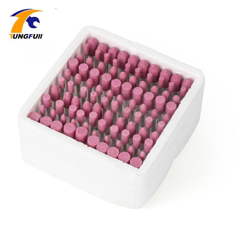 Tungfull Drill Attachment 100 Pz / scatola Assortiti in ceramica Montato Punta Mola Pietra Testa Ruota Dremel Trapano Utensili rotanti