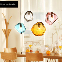 Modern Colorful Pendant Light Glass Stone Shade Pendant Lamp For Dning Room Kitchen Colorful Crystal bedroom LED Light Fixtures цена 2017