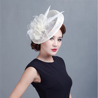 ShanFu Women Vintage Feather Sinamay fascinators Hats Lady Fancy Headband Hair Clip for Birthday Party Banquet Hat chapeu