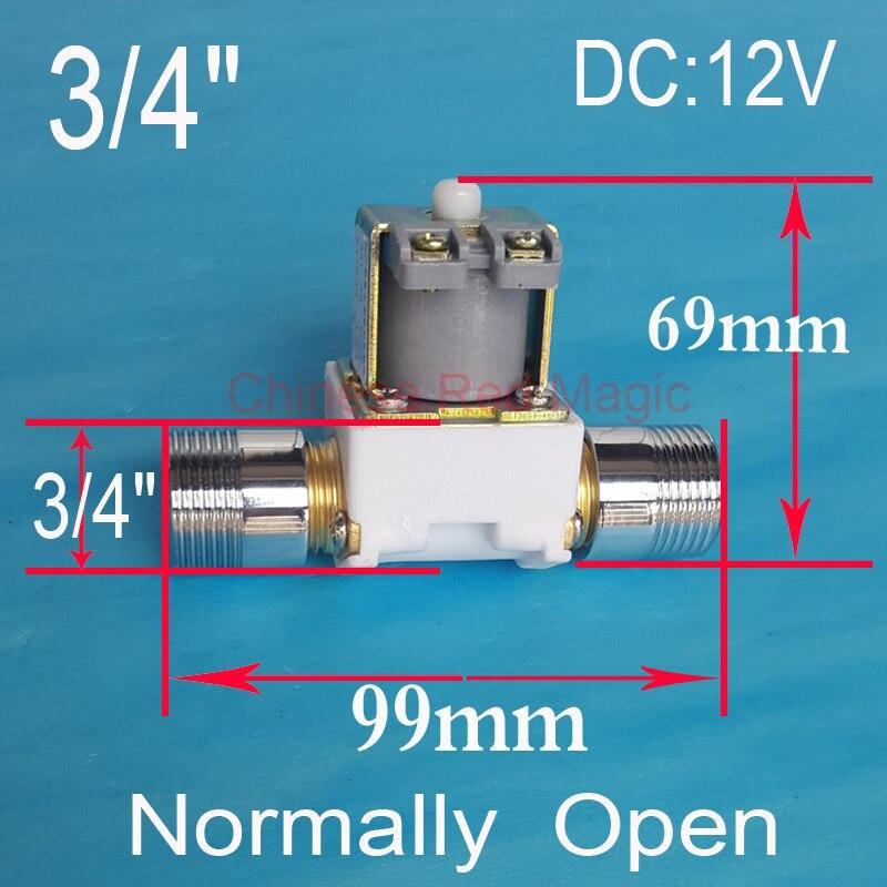 3/4 Normally Open solenoid valve coil 3/4 DC 12V Electric Solenoid Valve Normally Open Water Inlet Flow Switch Check Valve