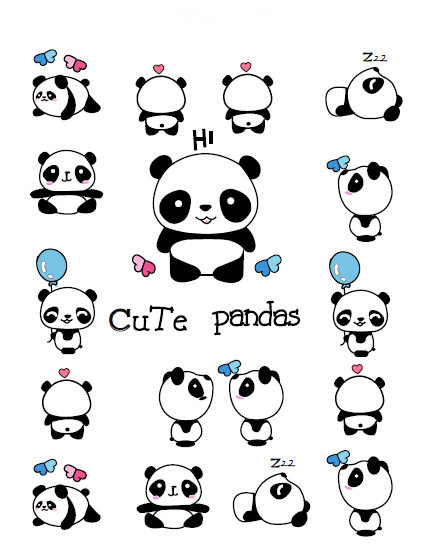 Tahan Air Sementara Tato Palsu Stiker Lucu Panda Hewan Balon Biru