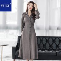 Winter Maxi Dress Office Lady Formal Blazer 2018 High Quality A line Long Sleeve Single breasted Black Gray Designer Dresses