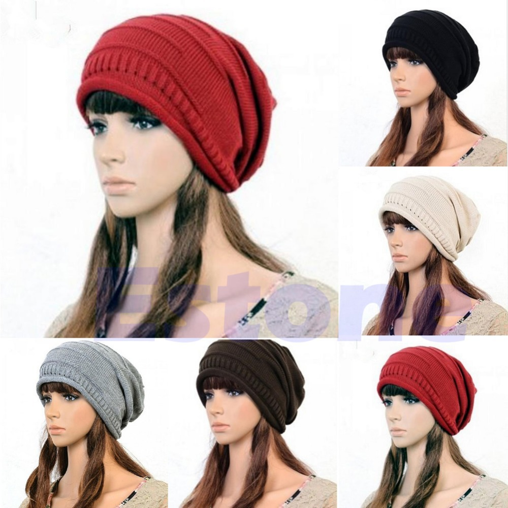 New Winter Unisex Oversized Slouch Cap Plicate Baggy Beanie Knit Crochet Ski Hat купить