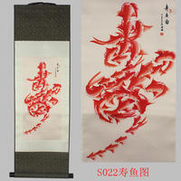 Fish life word pattern silk painting decoration scroll painting Chinese characteristics and the new special gift wholesale