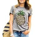 Mujeres Camiseta 2016 Nueva Primavera Verano O Cuello de Impresión de Frutas Piña kawaii camiseta de Algodón Casual camiseta poleras de mujer QA965