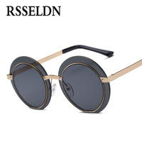 RSSELDN New Big Vintage Hexagon Sunglasses Women Mirror Silver Green 2017 Hot Vintage Round Lens Sun