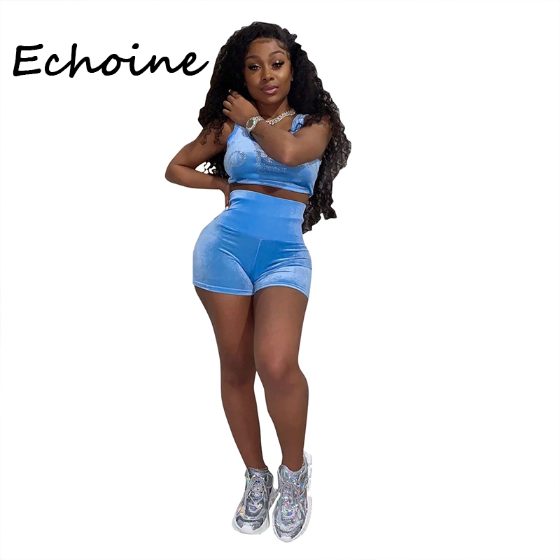 Echoine 2 Piece Set Women Tracksuit Diamond Decor Sportwear Crop Top + Short Pants O-neck Bodycon Summer Clothes For Women