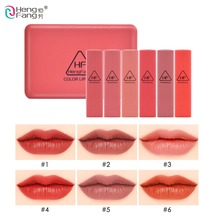 Brand HengFang 6 Colors/Set Long-lasting Moisturizer Lipstick Red Colors With Mirror Lips Makeup #9081