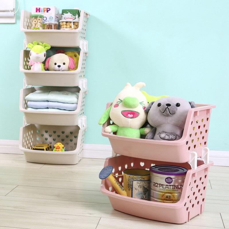 Stackable Storage Basket Plastic Toy Storage Baskets Kitchen Snacks  Vegetable Basket Bathroom Shelves In Storage Baskets From Home U0026 Garden On  ...