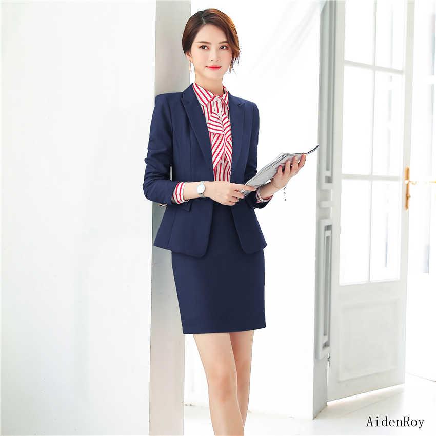 d8b92c01a6d9 Nuevo 2019 Formal elegante primavera verano Mujer Chaquetas de trabajo  trajes de las señoras falda chaqueta