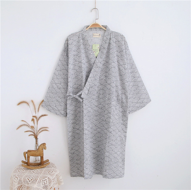 a99cfee3a2 Langen Ärmeln Baumwolle Bademantel Herren Kimono Robe Japanische Yukata  Herren Peignoir Longue Frühling/Herbst Morgenmantel
