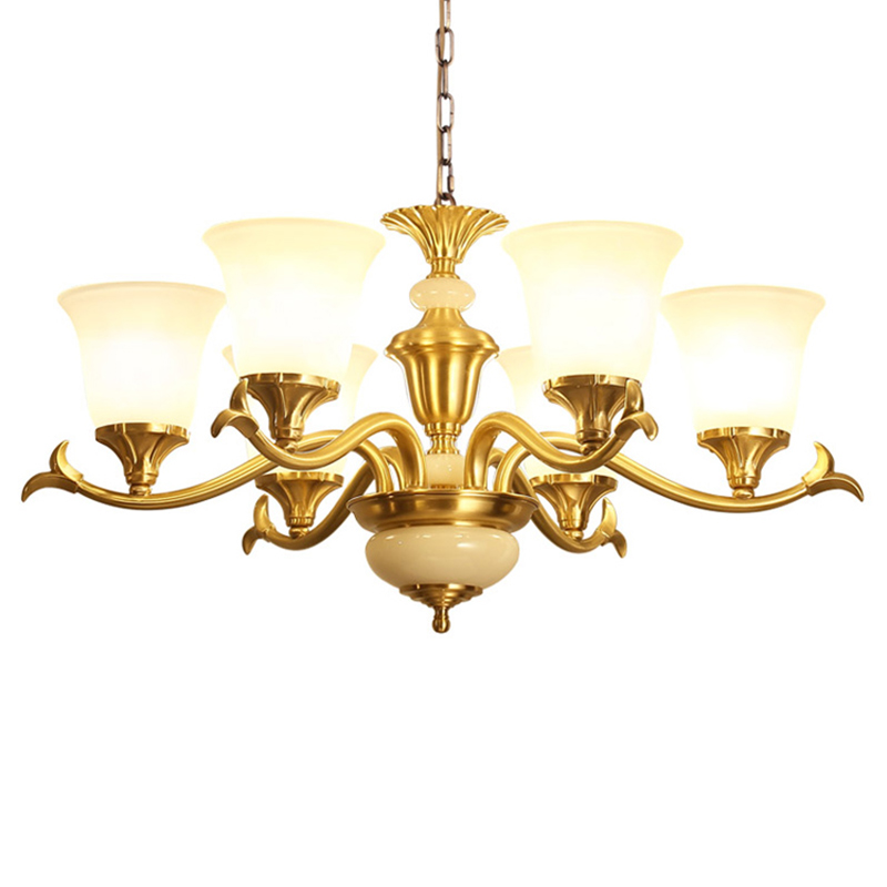 American style all copper Chandelier gold Luxury Home frosted glass Lighting Fixture Creative Vintage LED E27 bulb Hanging Lamp one light frosted glass antique rust hanging lantern