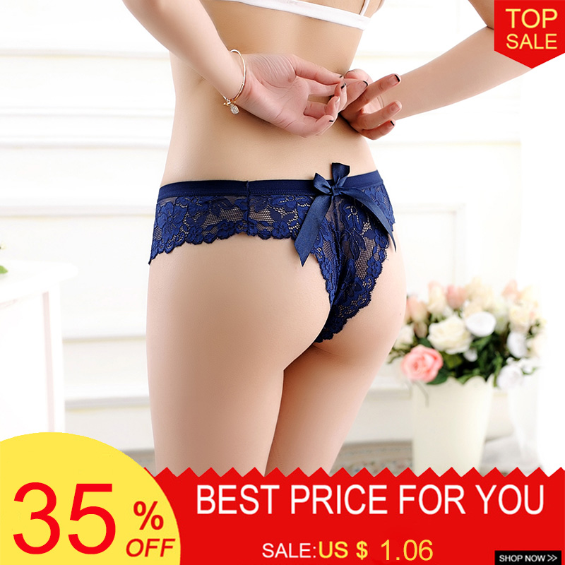 Hot Sexy Women Transparent Underwear Low-Rise Briefs With Bow Women Thongs Lace   Panties   Seamless Womens Lingerie Intimates Tanga